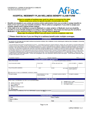 Fillable Online Hospital indemnity plan wellness benefit claim ...