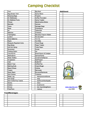 picture regarding Rv Camping Checklist Printable identify Fillable Tenting Listing - Fill On the web, Printable