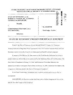 Fillable Online tn State of Tennessee's Motion for Default ...