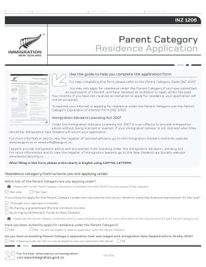 2016-2020 Form NZ INZ 1206 Fill Online, Printable, Fillable, Blank -  pdfFiller