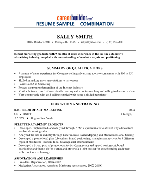 RESUME SAMPLE COMBINATION