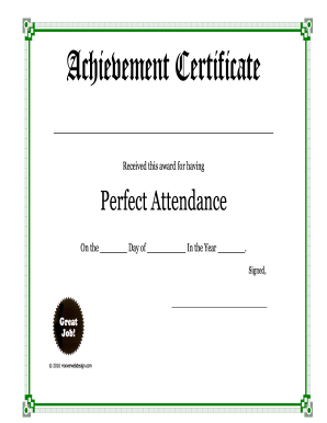 Free Fillable Perfect Attendance Pdf  Attendance Certificates Printable