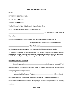 DOCTOR'S FORM LETTER - Brazoria County