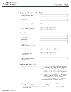hm revenue starter checklist sample fill online printable