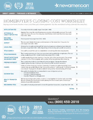 closing worksheet for new american funding form