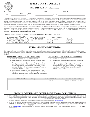 Verification Worksheet - Synhoff