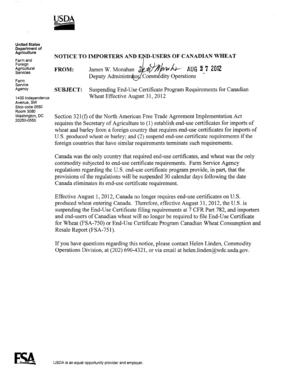 Fillable Online fsa usda Suspending End-Use Certificate Program ...