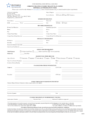 Fillable Online US Family Health Plan Referral/Authorization Form ...