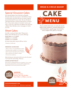 Fillable Online Bakery Cake Menu Whole Foods Market Fax Email