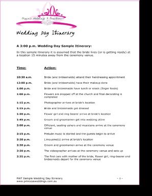 wedding day itinery