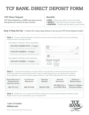 Fillable Online TCF BANK DIRECT DEPOSIT FORM Fax Email Print