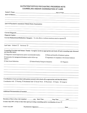 Psychotherapy session notes template for Psychology progress note template