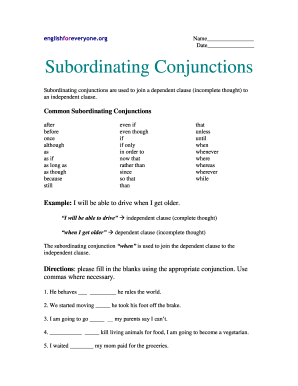 Englishforeveryoneorg Answer Key Subordinating Conjunctions - Fill ...