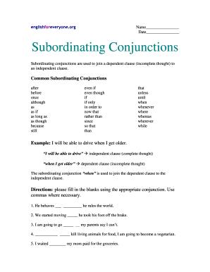 Englishforeveryoneorg Subordinating Conjunctions - Fill Online ...