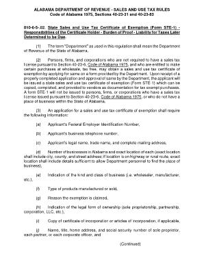 Fillable Online revenue alabama Certificate of Exemption - Alabama