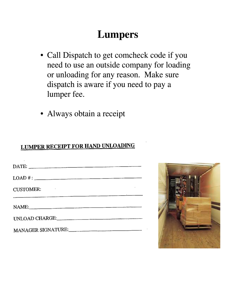 Lumper Receipts Templates Fill Online Printable Fillable