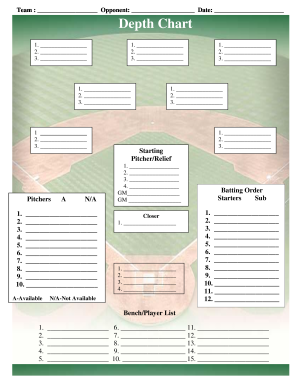 photo regarding Printable Baseball Depth Chart known as Baseball Business Lineup Templatepdffillercom - Fill On the web