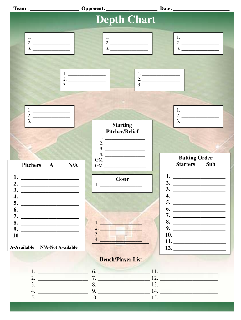 image about Printable Baseball Depth Chart titled Baseball Industry Lineup Templatepdffillercom - Fill On-line