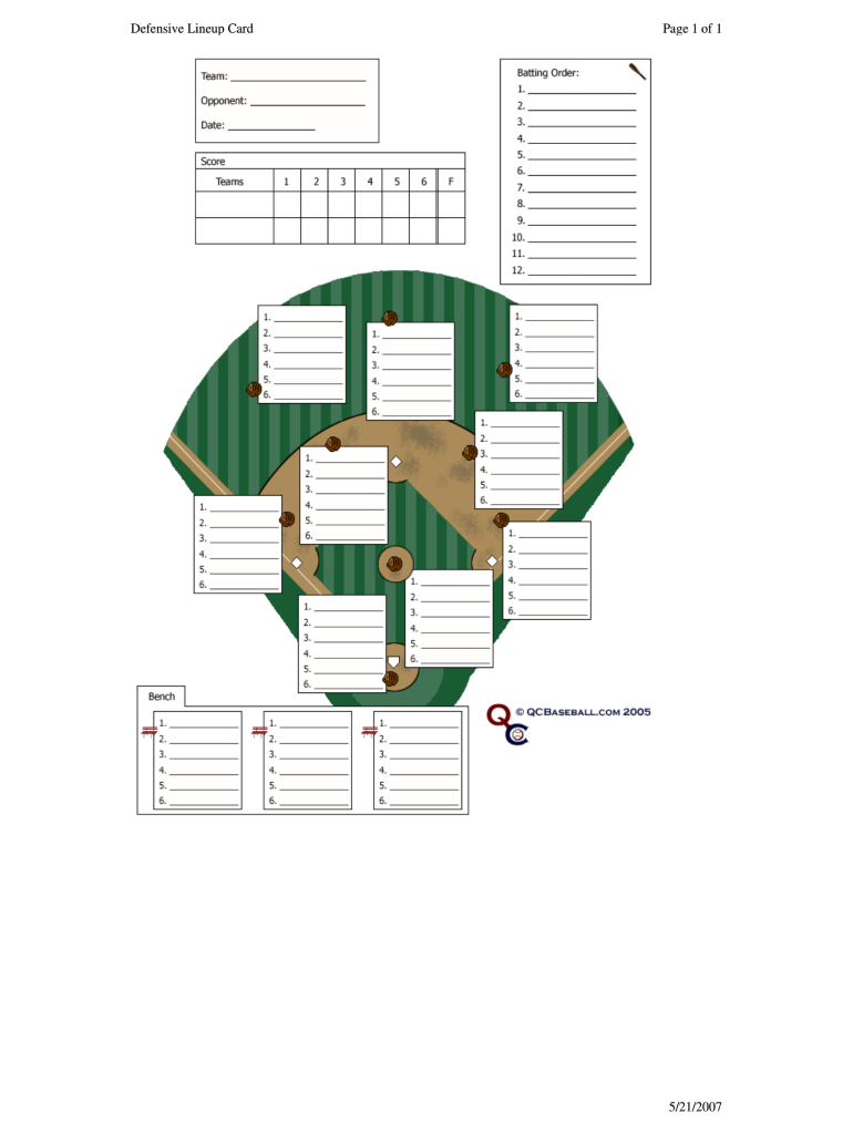 graphic relating to Printable Softball Lineup Card named Defensive Lineup Card - Fill On the web, Printable, Fillable