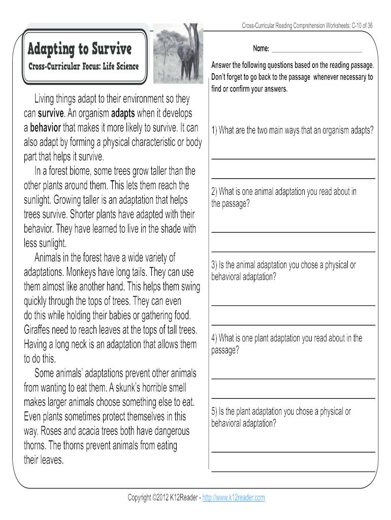 Animal Adaptation Worksheets - Fill Online, Printable ...