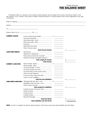 32 printable balance sheet template forms fillable samples in pdf