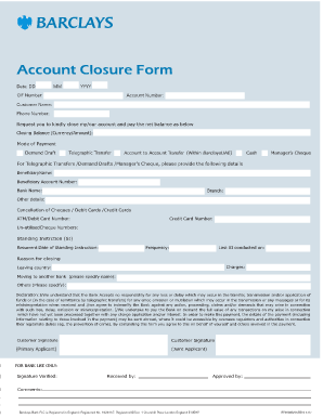 Forms Given When Opening An Account In Barclays Bank - Fill