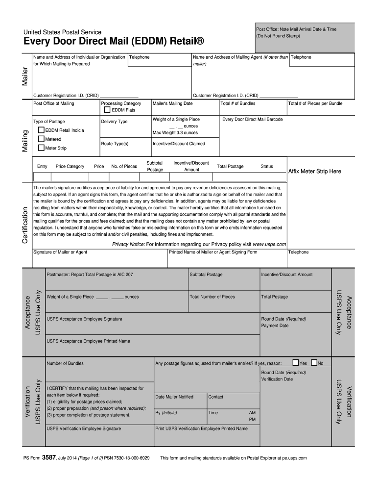 2014-2019 Form USPS PS 3587 Fill Online, Printable, Fillable