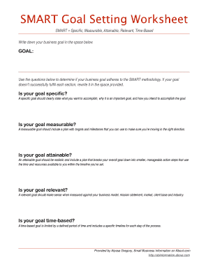 goal setting worksheet pdf