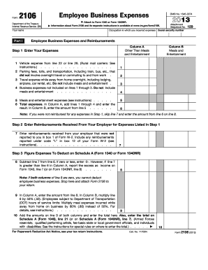 2013 Form IRS 2106 Fill Online, Printable, Fillable, Blank ...