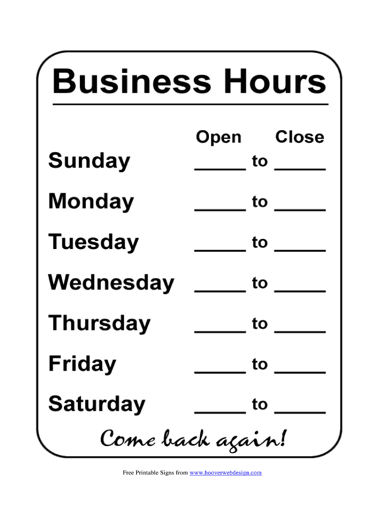 photograph regarding Printable Business Hours Sign named Printable Several hours Signal - Fill On-line, Printable, Fillable