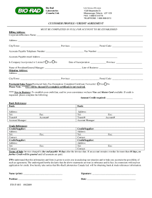 Download the credit application form - Bio-Rad
