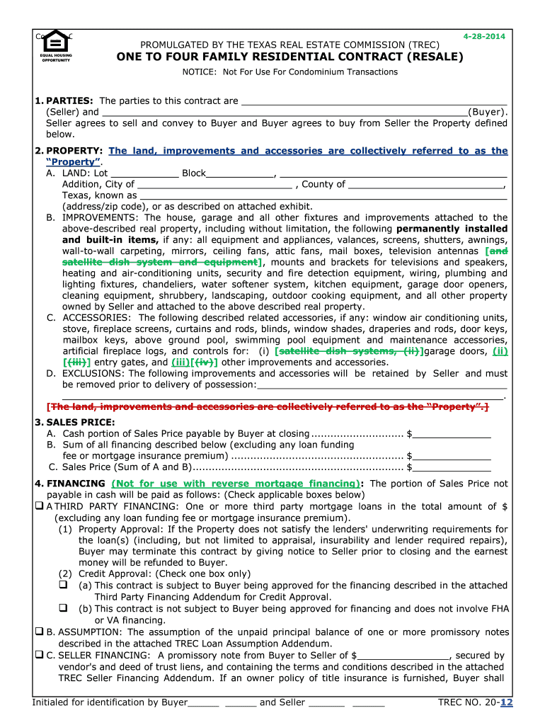 Trec Contract Fill Online Printable Fillable Blank