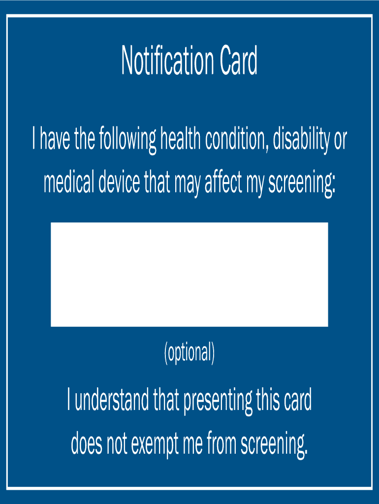 Tsa Notification Card Printable Fill Online Printable Fillable Blank Pdffiller