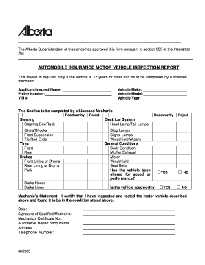 Inspection reports alberta fill online printable for Motor vehicle reports online