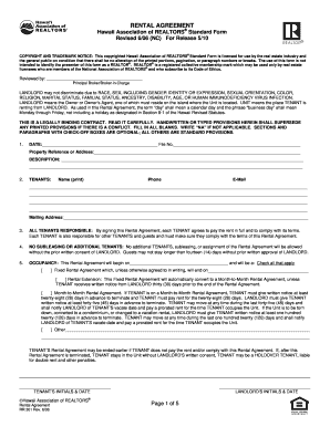 city and county of honolulu rental agreement forms