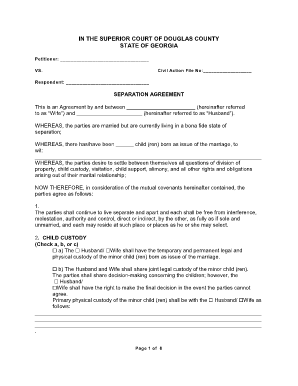 fillable online separation agreement douglas county georgia fax email print pdffiller. Black Bedroom Furniture Sets. Home Design Ideas