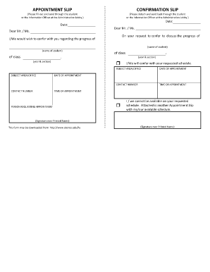 student appointment slip example fill online printable fillable