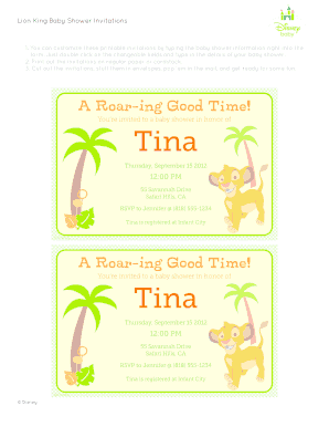 Lion King Baby Shower Fill Online Printable Fillable Blank