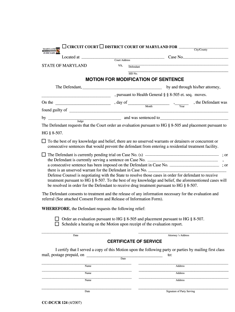 Maryland Modification Sentence Form - Fill Online, Printable