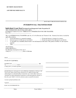 Fillable Online Interspousal Transfer Deed - Kinsey Law Offices ...