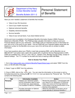 ebis personal statement of benefits