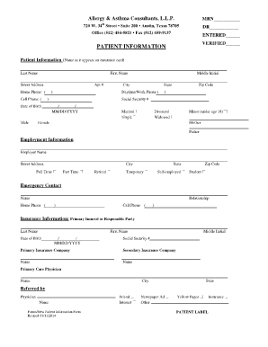 Fillable Online New Patient Information Form - Allergy and Asthma ...