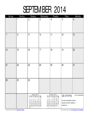 september 2014 fill in calendar form