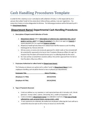 Procedures Template | Cash Handling Procedures Template Fill Online Printable Fillable