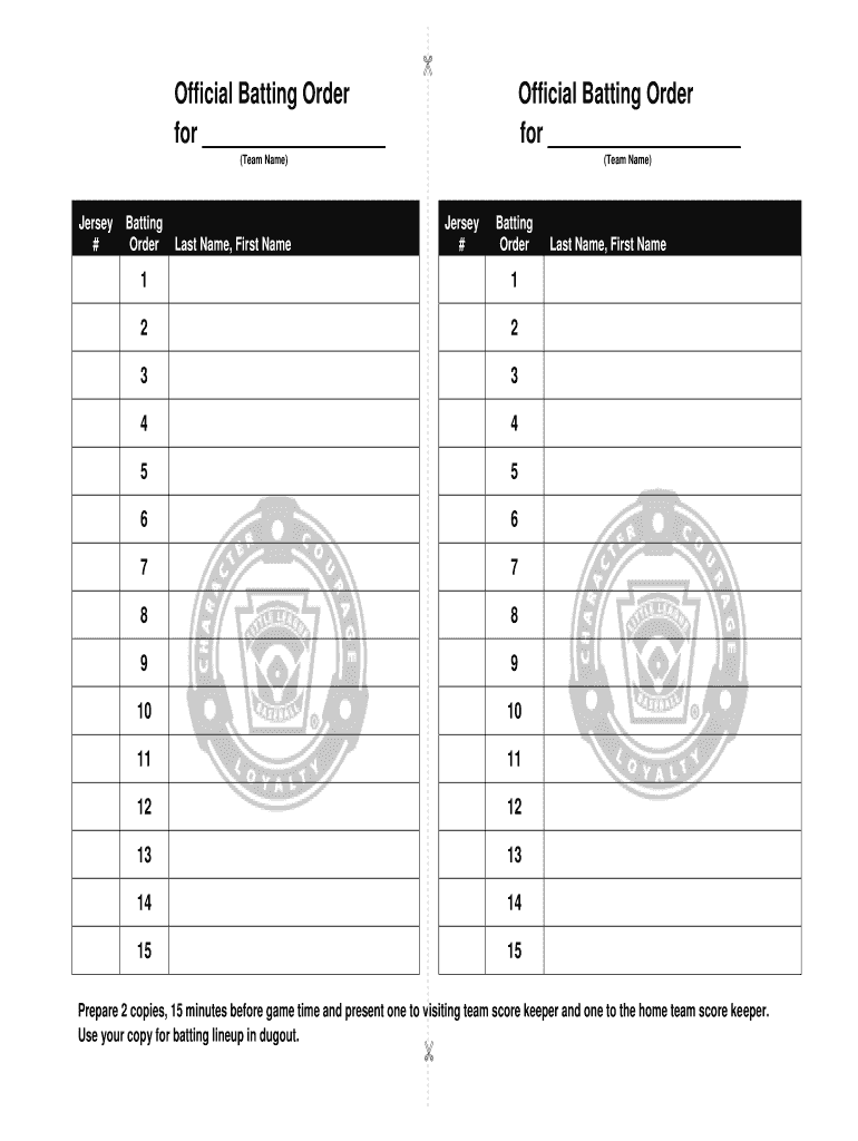Batting Order Template - Fill Online, Printable, Fillable, Blank Throughout Baseball Lineup Card Template