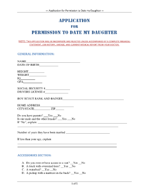 APPLICATION TO DATE MY DAUGHTER