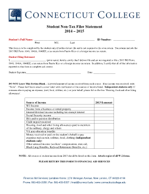 Student Non Filer Form - Fill Online, Printable, Fillable, Blank ...