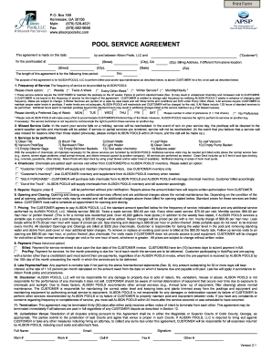 Pool Service Agreement Fill Online Printable Fillable
