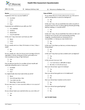 health questionnaire form template