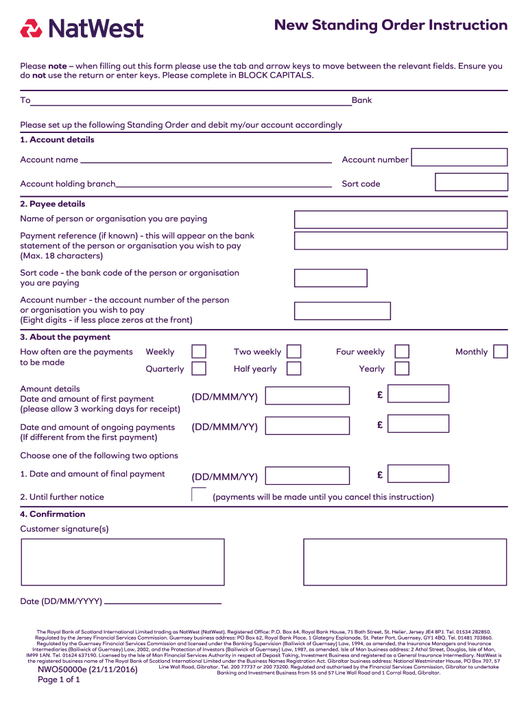 natwest standing order form  Natwest Bank Opening Account Forms - Fill Online, Printable ...